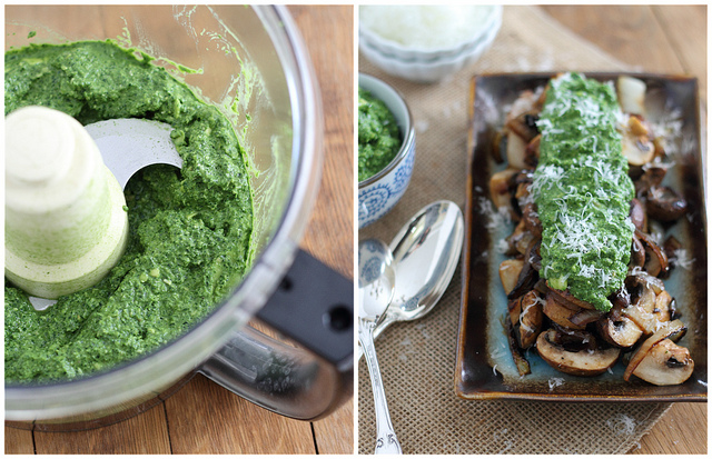 caramelized mushrooms with pesto