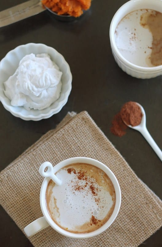 Pumpkin hot chocolate with whipped coconut cream