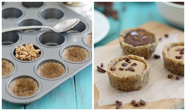 Raw no bake almond butter and chocolate tartlets with walnuts and pecans