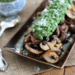 Caramelized Mushrooms with Pesto Guacamole