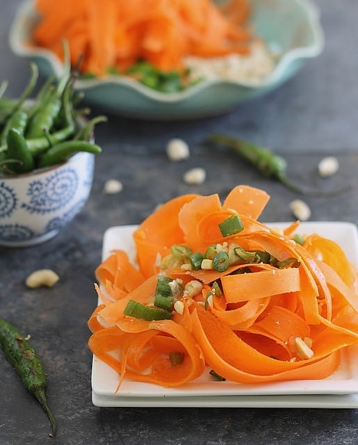 Shaved carrot salad with chili pepper dressing