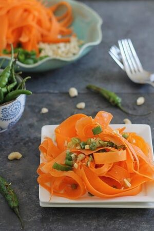 Shaved carrot salad with roasted chili pepper dressing