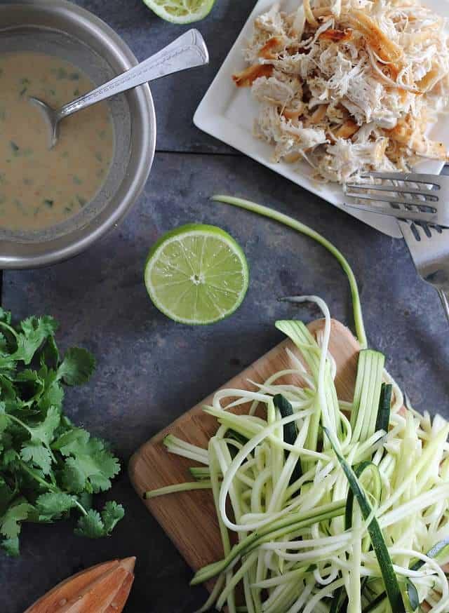 Thai chicken zucchini noodles in a creamy peanut sauce
