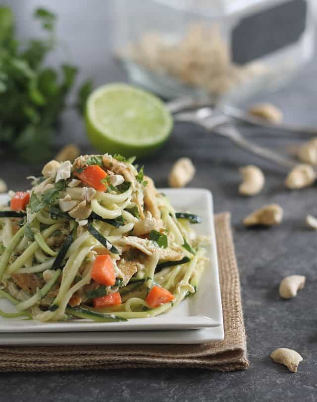 These Thai chicken zucchini noodles are made with zucchini and coated in a creamy peanut Thai sauce.