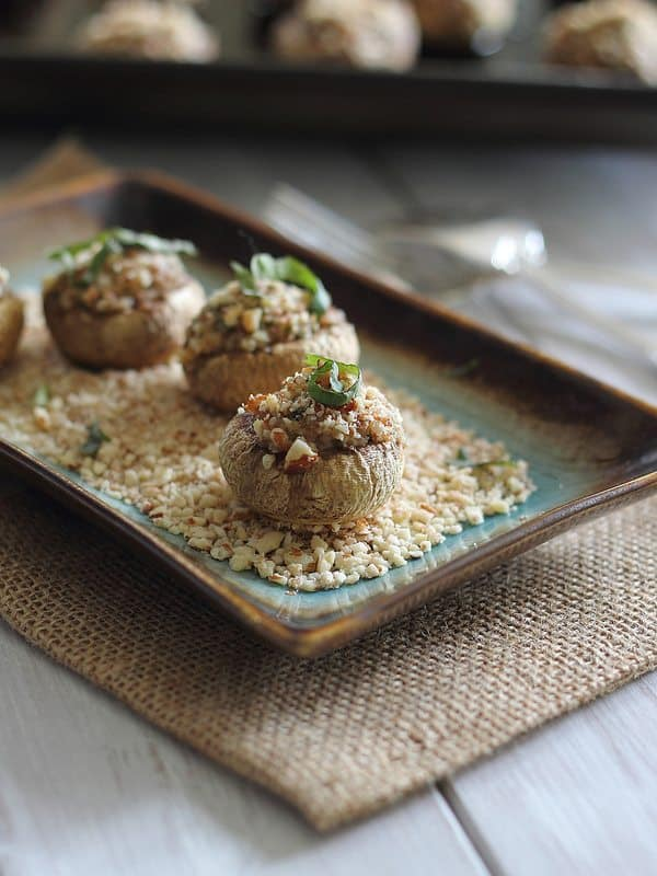 goat cheese stuffed mushrooms with prosciutto