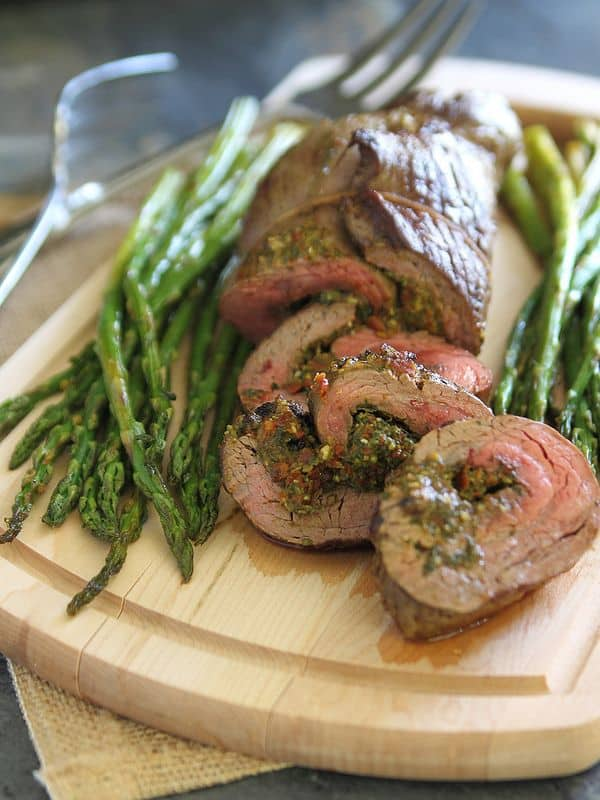 pesto stuffed flank steak with sun dried tomatoes