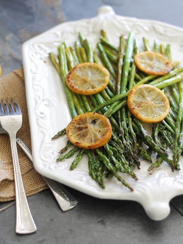 This is a simple lemon roasted asparagus recipe that's a perfect spring side dish.