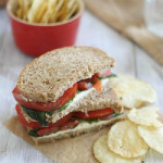 Cream cheese, tomato & basil sandwich