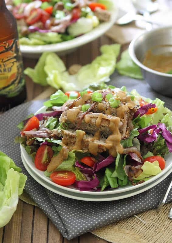 Asian turkey burger salad with peanut dressing