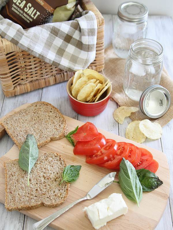 Cream cheese tomato basil sandwich