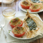 Parchment salmon & baked basil tomatoes