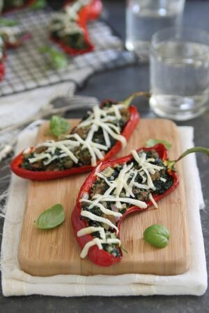 Spinach sausage and ricotta stuffed peppers