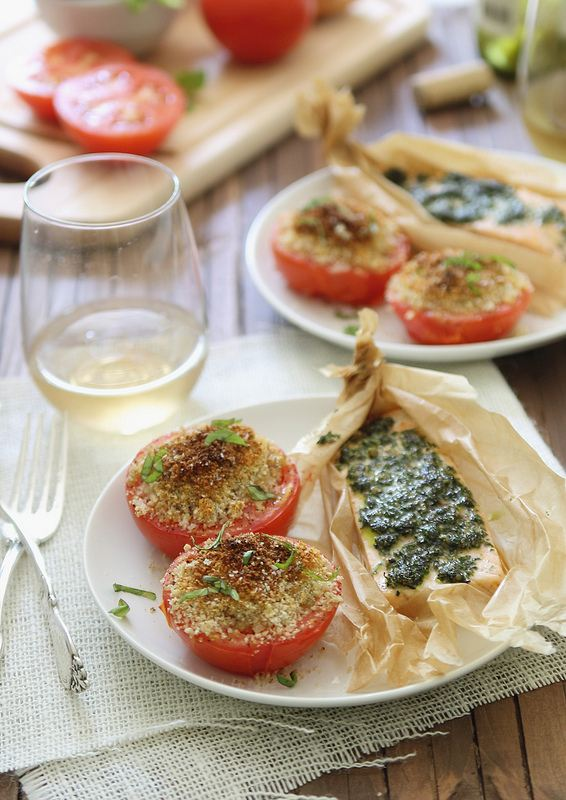 30 Minute Pesto Salmon with basil baked tomatoes