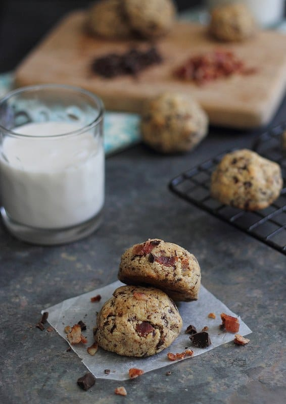 These paleo bacon chocolate chip cookies are a salty sweet treat anyone will love. They're grain-free, gluten-free and dairy-free so everyone can enjoy!