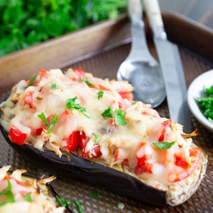 chicken cheese stuffed eggplant