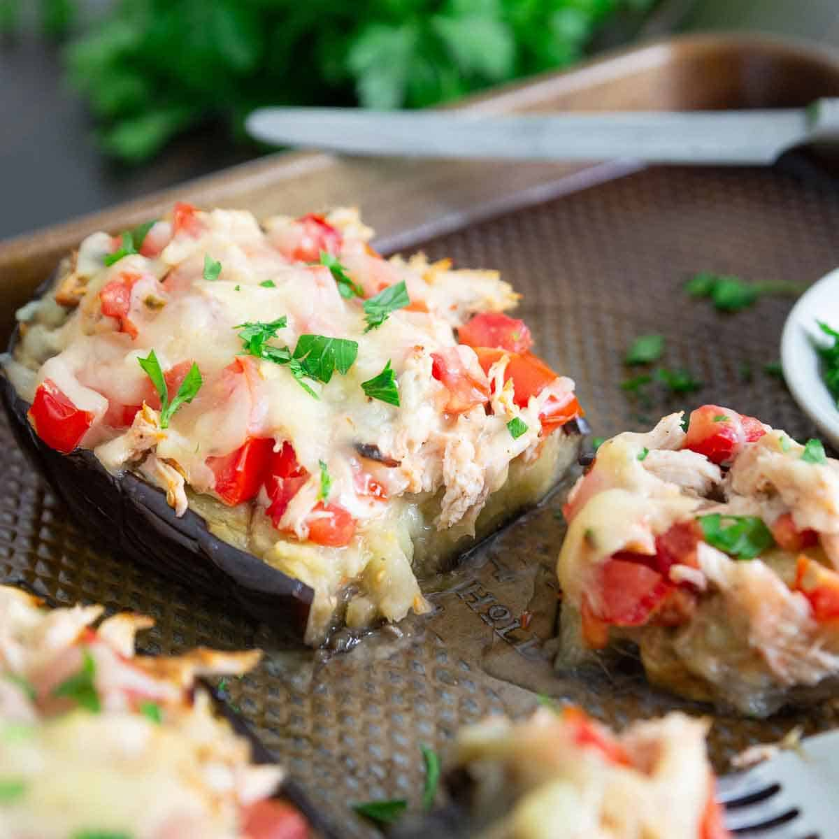 Try this stuffed eggplant chicken recipe for an easy dinner this summer.