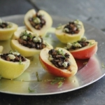 Mushroom stuffed pears with gorgonzola