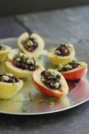 Mushroom stuffed pears with gorgonzola