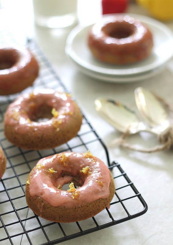 Strawberry donuts with lemon