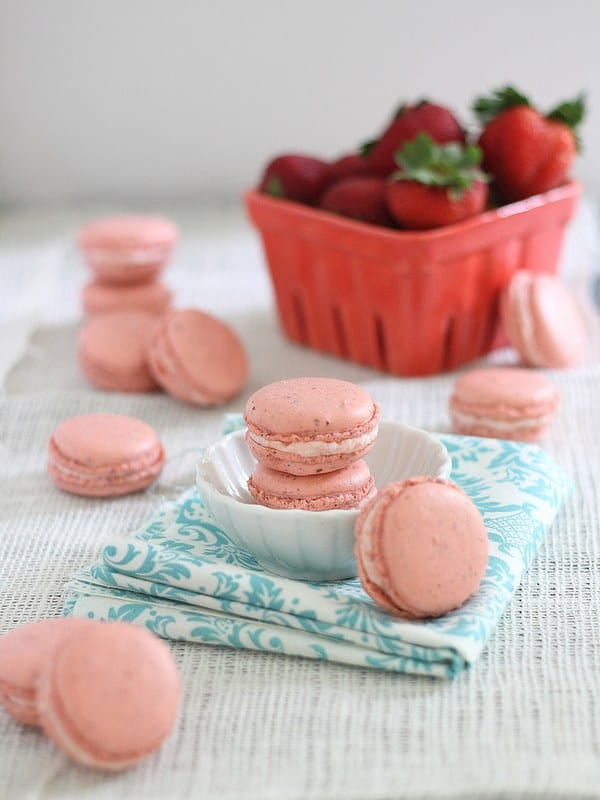 Strawberry rhubarb filled macarons