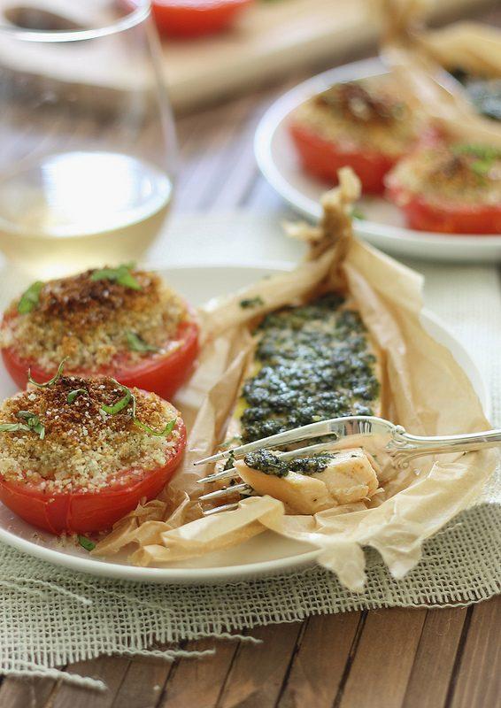 parchment baked pesto salmon