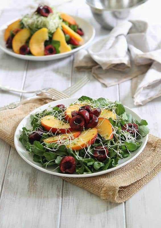 Cherry and peach watercress salad