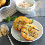Grilled Peaches with Brown Sugar Pecan Crumble