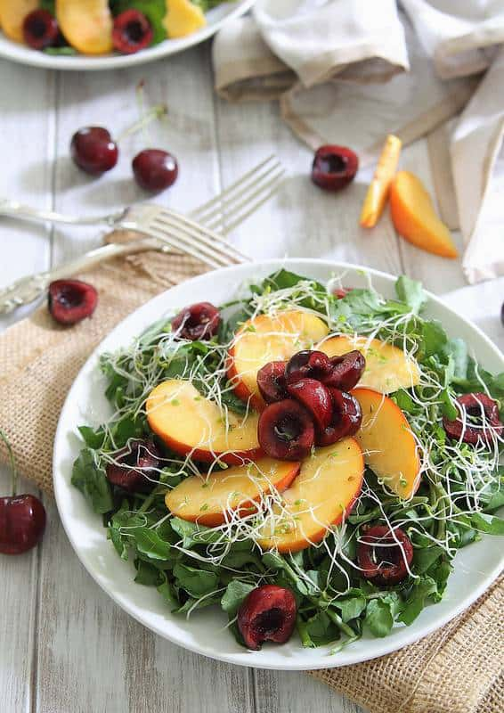 Peach and cherry watercress salad