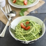Zucchini pasta with avocado cream sauce