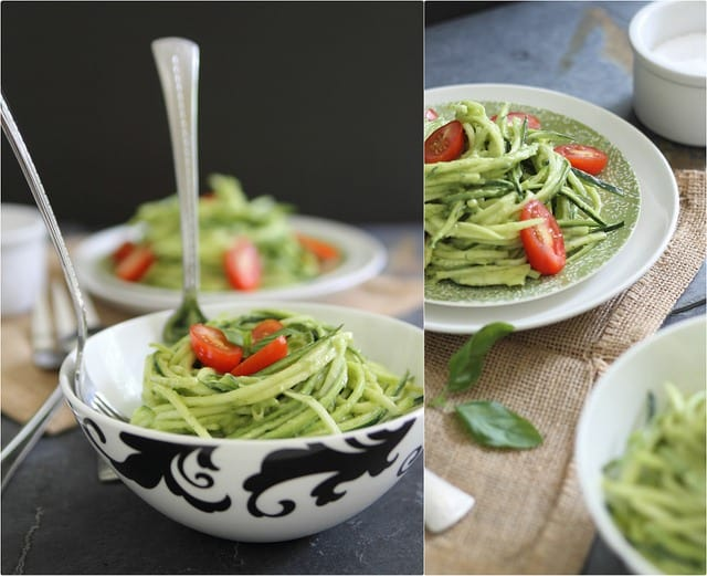 Zucchini noodles with creamy avocado sauce is a deliciously healthy vegetarian meal.