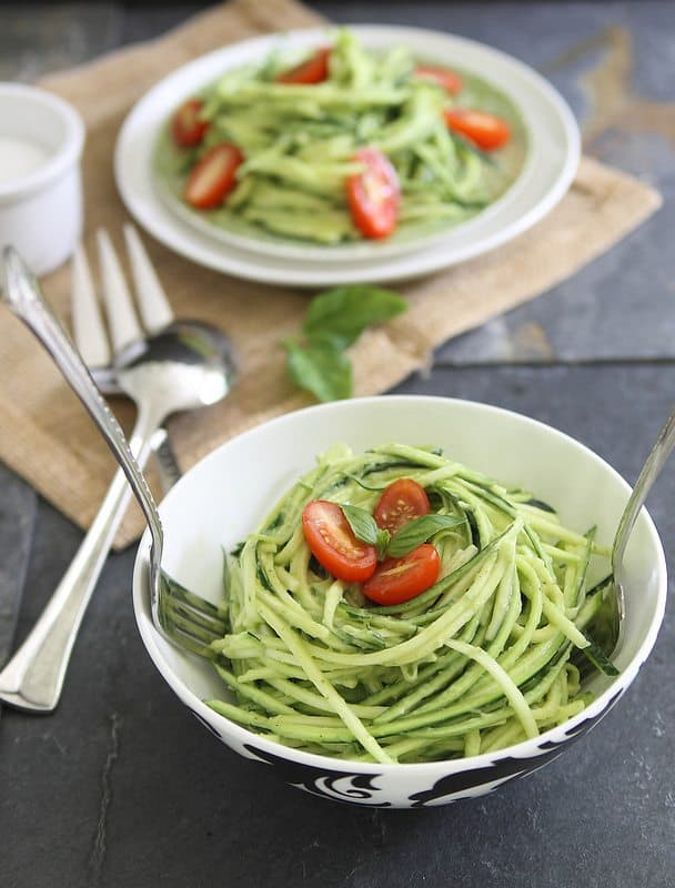 Zucchini noodles with avocado cream sauce makes a perfect side dish or light meal for summer. Add some grilled shrimp or chicken for a heartier meal.
