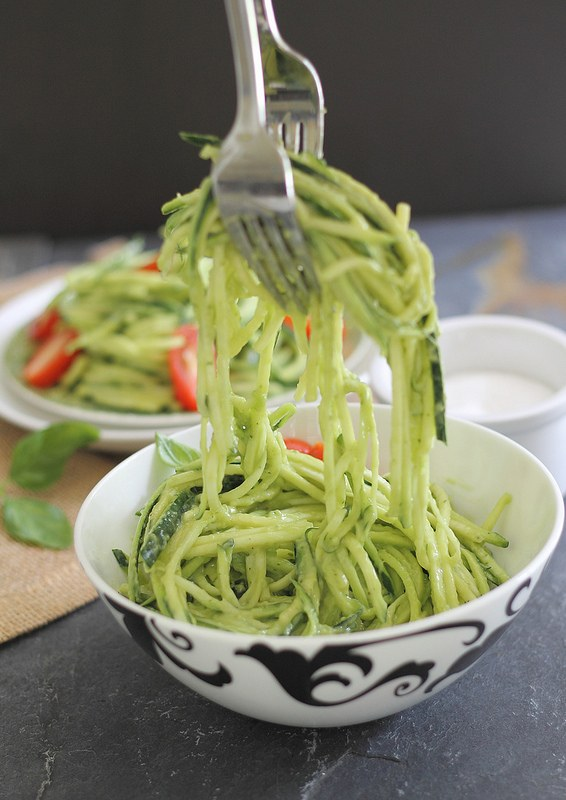 Creamy avocado zucchini noodles are a healthy gluten-free alternative to pasta.