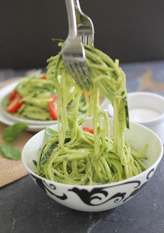 Creamy avocado zucchini noodles are a healthy gluten-free alternative to pasta.