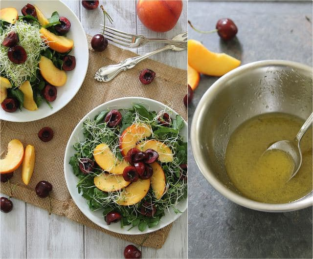 watercress salad with peaches and cherries