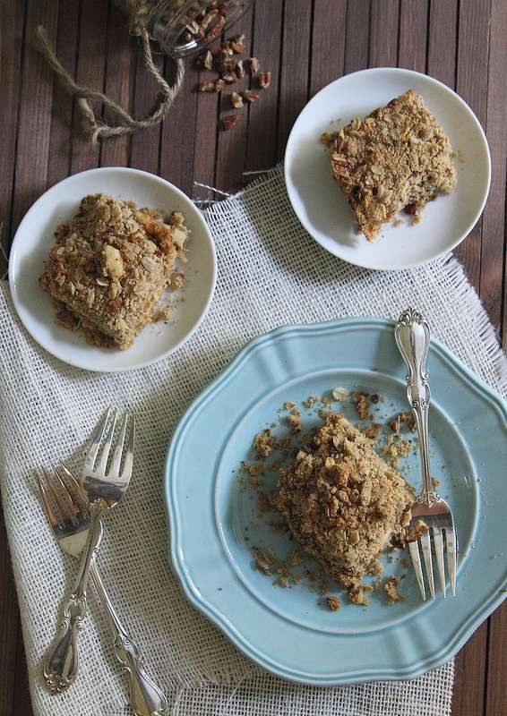 Apple crumble bars with cheddar