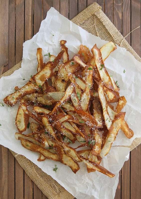Crispy fried potato strips with parmesan cheese