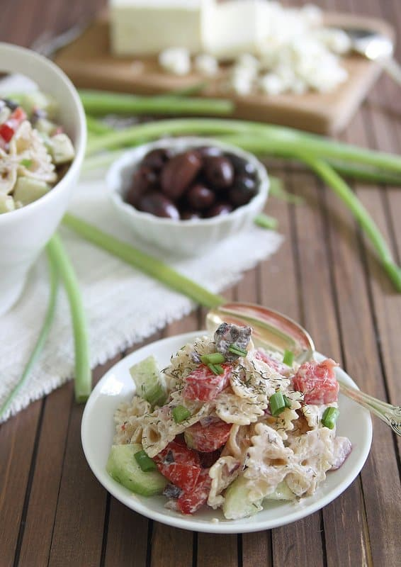 Greek Pasta Salad   runningtothekitchen.com