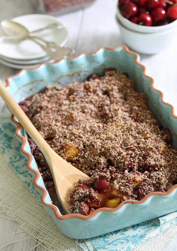 Peach and Cherry Quinoa Crumble | runningtothekitchen.com