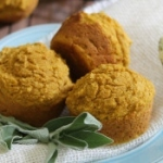 Pumpkin corn muffins with honey sage butter