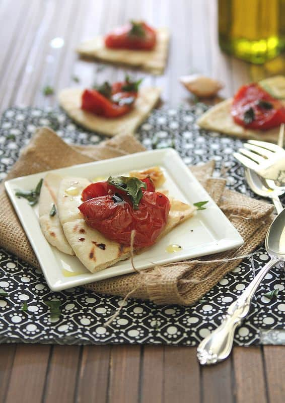 Roasted Tomato Pita Bread   runningtothekitchen.com