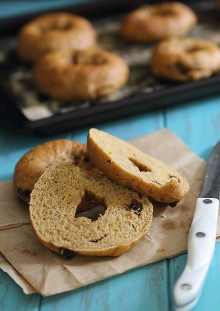 Homemade pumpkin raisin bagels