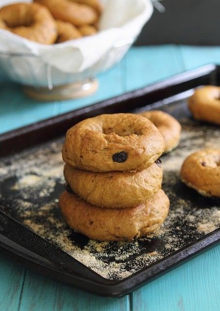 Pumpkin bagels with raisins