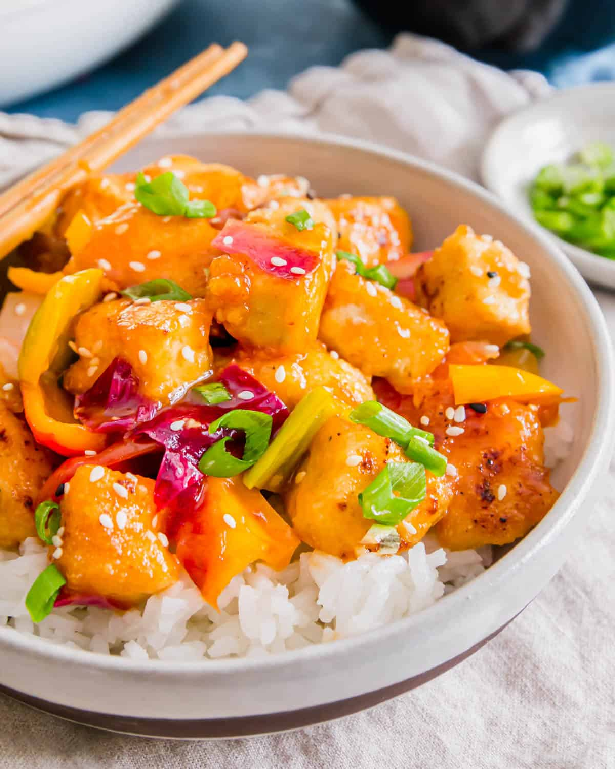 Sweet and sour tofu is a plant-based spin on the classic Chinese sweet and sour takeout dishes.