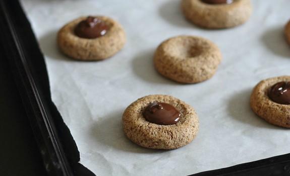 Almond Chocolate Thumbprint Cookies