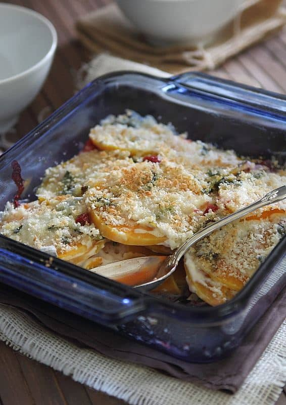 Butternut Squash and Cranberry Gratin   runningtothekitchen.com