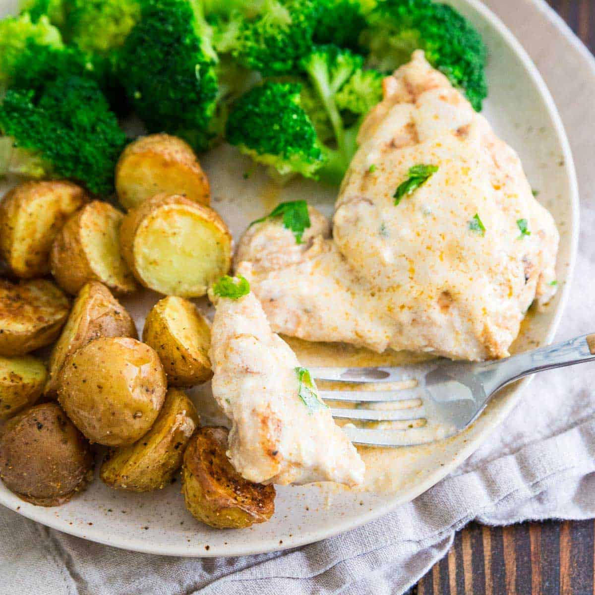 5 spices and a cream cheese sauce make this chicken dinner a meal everyone will love.