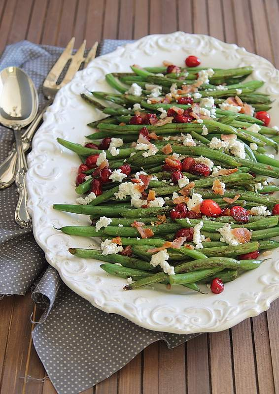 Green Beans with Cranberries, Goat Cheese and Bacon   runningtothekitchen.com