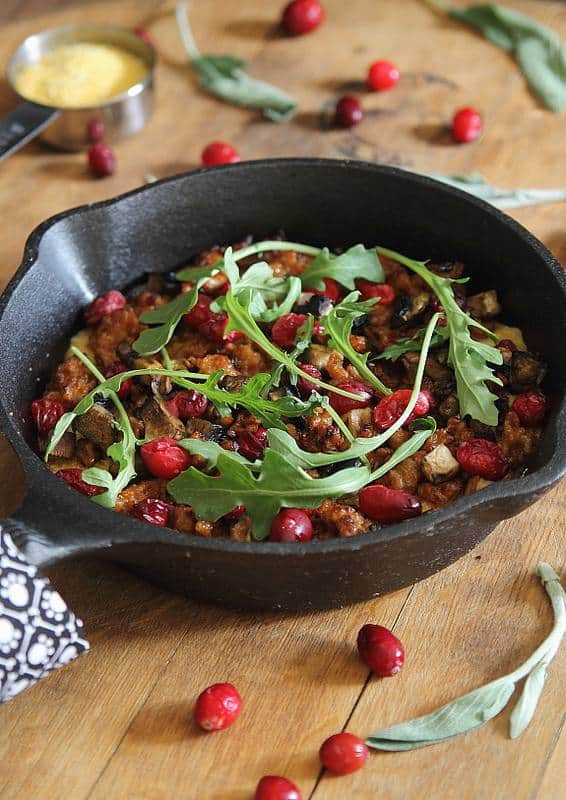 Skillet Polenta with Sausage and Cranberries | runningtothekitchen.com