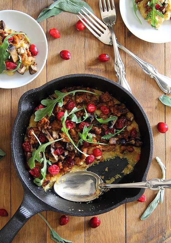 Skillet Polenta with Sausage and Cranberries | runningtothekitchen.com