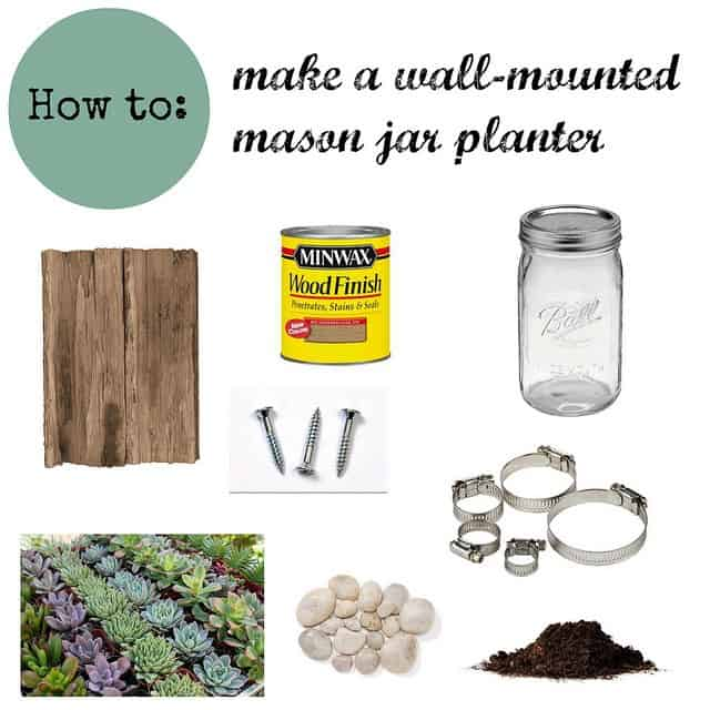 How To Make a Wall-Mounted Mason Jar Planter | www.runningtothekitchen.com